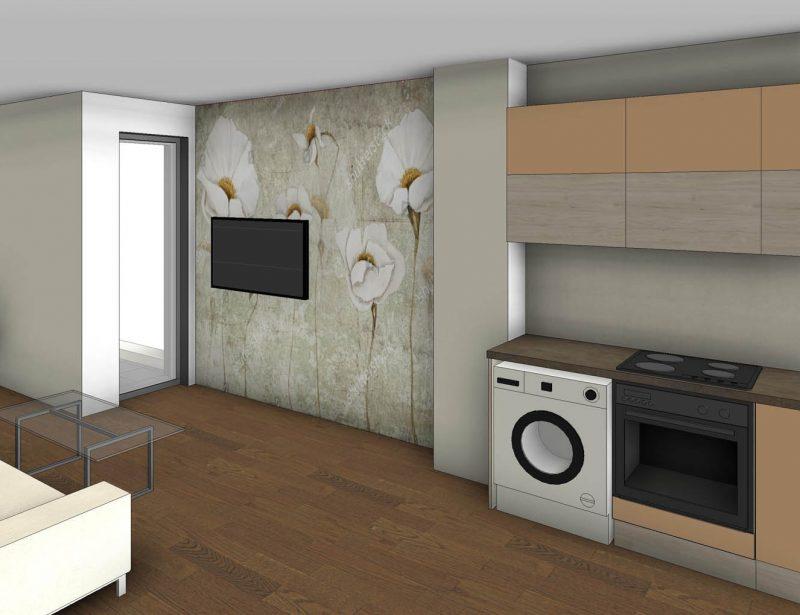 Кухня и Дневна на малък апартамент